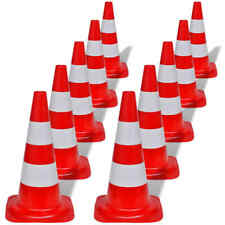 10x Traffic Cones 500mm w/ Reflective Stripes Construction Safety Red and White