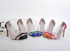 Women Clear Rivet High Heels Stiletto Bowtie Studded Pumps Party Leather Shoes