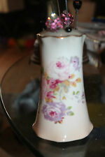 Vintage R S RS Germany Hatpin Holder Hand Painted Floral Porcelain w 9 Hat Pins