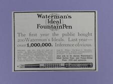 Waterman's Ideal Fountain Pen -1000000 Sold, Original pre 1920s Magazine Advert