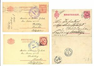 SWEDEN 1900/1916--LETTER CARD + 2 x PS WITH CENSOR--F/VF