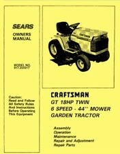 """Sears Craftsman 18HP 44"""" Lawn Garden Tractor 917.255917 OWNER'S PARTS MANUAL"""