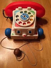 Vintage 1961-1985 Fisher Price Chatter Box Pull Along Telephone