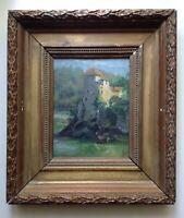 Tableau Ancien XIXe Impressionniste  Ernest ROMAN L'île Barbe Lyon Huile signée