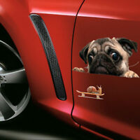 Funny 3D Pug Dogs Watch Snail Car Sticker Pet Peeking Car Window Rear Dog Decal