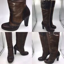 Duna 🌟 Talla 38 5 Marrón Cuero Brogue detalle de la rodilla Botas altas para mujer militar
