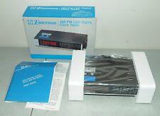 New! Nos! Mint! Vtg Emerson Am Fm Led Digital Alarm Clock Radio #Red-5510