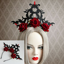 Punk Gothic Red Roses Flower Headband Masquerade Costume Hair Accessory Hairband