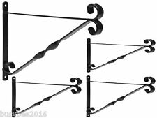 "4x GARDEN HANGING BASKET METAL WALL BRACKET - TWISTED - UP TO 16"" BASKETS"