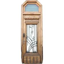 Vintage French Oak and Wrought Iron Single Entry Door with Transom c. 1925