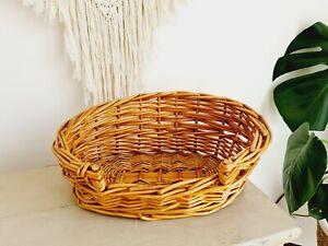 Vintage Wicker Pet Cat Dog Basket Bed Small Chihuahua boho Kane rattan retro