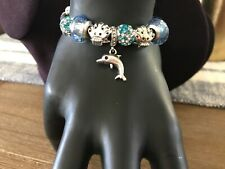 Blue Leather Slide Charm Bracelet with Dolphin/Shells/Crystals NWOT