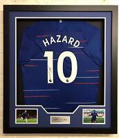 Eden Hazard Signed & Framed Shirt Chelsea FC AFTAL COA (B)