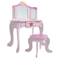 Schminktisch #333 Kinder Prinzessin Frisiertisch & Hocker Holz rosa Kindersitz