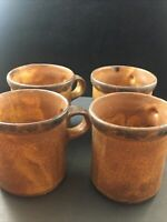 Vintage McCoy Pottery RARE Canyon Mesa Brown Coffee Cup Mugs (4) Mission cabin