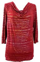 COLDWATER CREEK womens knit top LARGE (14) red silver gold 3/4 sleeves (H260)