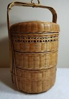 Chinese Asian Three-Level Wedding Basket Woven Reeds Split Bamboo Willow ANTIQUE