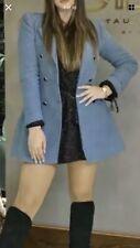 Zara Duck Blue Tailored Velvet Double Breasted Frock Coat Blazer Size M
