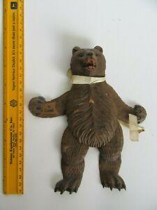 Vtg / Antique Germany Black Forest Depose Carved Wood Bear w/ Moving Legs / Arms