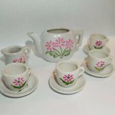 10 piece Miniature Mini Tea Set white with pink flowers
