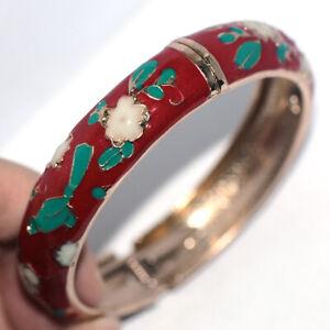 Big Red Flower Womens Bangle Bracelet Cuff Bracelets Gold Jewelry Dia. 60mm
