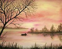 Pink Lake Landscape 8 x 10 Art Print