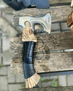 UBR CUSTOM HANDMADE CARBON STEEL HUNTING,CAMPING AXE WITH LEATHER SHEATH