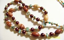 """Banded Agate, Bronze Glass Pearls,,Turquoise Discs+ Goldtone Toggle,27"""" NEW"""