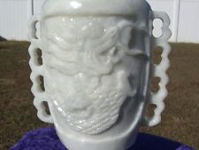WHITE JADE Dragon Vase Carving Altar Water Pot RARE & Unique HIGHLY DETAILED