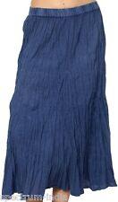 Adini Mid Calf 100% Viscose Blue Crinkle Skirt with Elastic Size Large