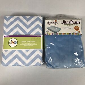 Circo Fitted Crib Sheet, & Blue Summer Ultra Plush Changing Pad Cover