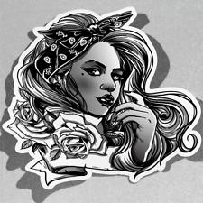 Beautiful Gangsta Girl with Gun Vinyl Sticker Decal Window Car Van Bike 3106
