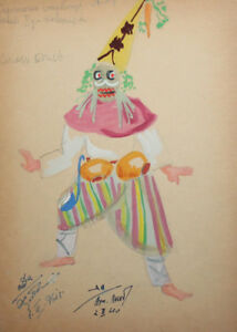 1961 Gouache theater costume drawing signed
