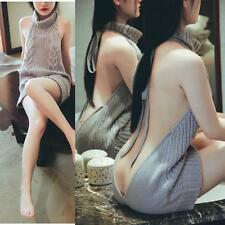 Cosplay Sexy Girl Virgin Killer Turtleneck Sleeveless Pullover Backless Sweaters