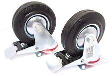 """5 """" (125mm) in gomma girevoli con freno CASTOR ruote trolley CASTER (confezione da 2) rm013"""