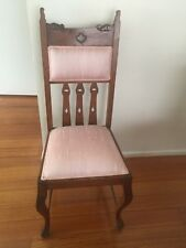 antique dining chairs,timber,very good condition.4 of each design.