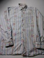Ermenegildo Zegna Mens Striped Floral Shirt Size M Blue Long Sleeve Button Front