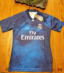 Real Madrid Blue Jersey EA Sport Shirt Small Adidas Football Soccer EA2128