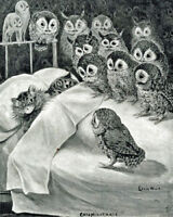 Cat Nightmare Owl Bird by Louis Wain painting Canvas Giclee Art Print L1898