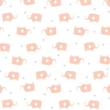 Cloud 9 ~ Elephant Pink White KNIT Jersey Fabric / stretch jersey babygrow