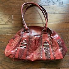 East 5th Womens Faux Snakeskin Leather Double Handle Purse Handbag Tote Zip Up