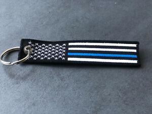 """Schlüsselband  USA """"The Thin Blue Line""""  Blau für Polizei UNISEX"""