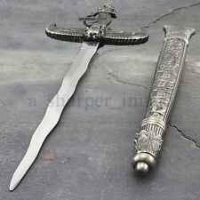 "Egyptian Athame Dagger & Scabbard 13.75"" Ritual Dagger Kris Stainless Steel NEW"