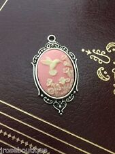 PINK hummingbird PETITE CAMEO VINTAGE STYLE SHABBY Necklace wedding party bridal