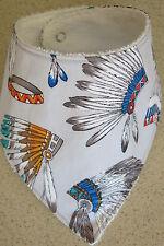 Handmade Bandana bib-   Indian headdress/feathers on grey