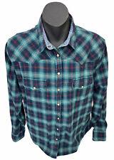 Jachs Girlfriend Western Sawtooth Campdraft Pearl Snap LS Green Blue Shirt Sz L