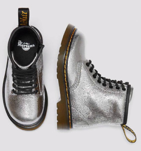 DR MARTENS TODDLER SIZE 9 (EU27) SILVER CRINKLE METALLIC 1460 BOOTS, BRAND NEW