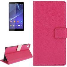Book Tasche Litchi in pink für Sony xperia Z3 mit Aufstellfunktion/Kartenfächer