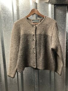 Berwin and Wolff Brown two tone round neck Wool Mohair Made In Austria Cardigan