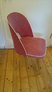Cocktail Stuhl mit Kunststoff Bezug aus den 1950er Jahren Rockabilly